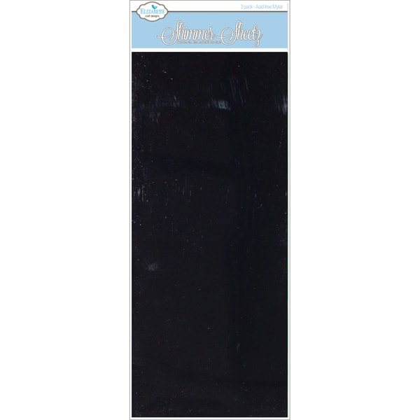 "Metallic Mylar Shimmer Sheetz 5""X12"" 3/Sheets-Basic Black"