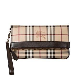 Burberry Beige Haymarket Check Folding Wristlet