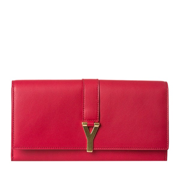 Yves Saint Laurent 'Y Line' Large Red Leather Flap Wallet