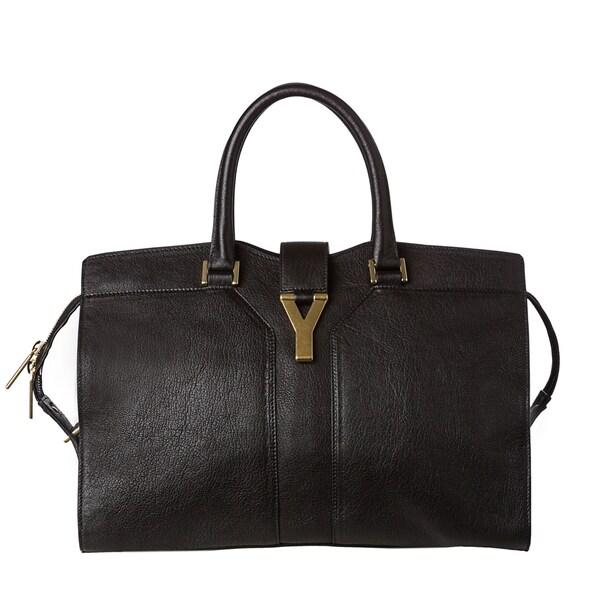 Yves Saint Laurent 'Cabas Y' Medium Black Leather Tote Bag
