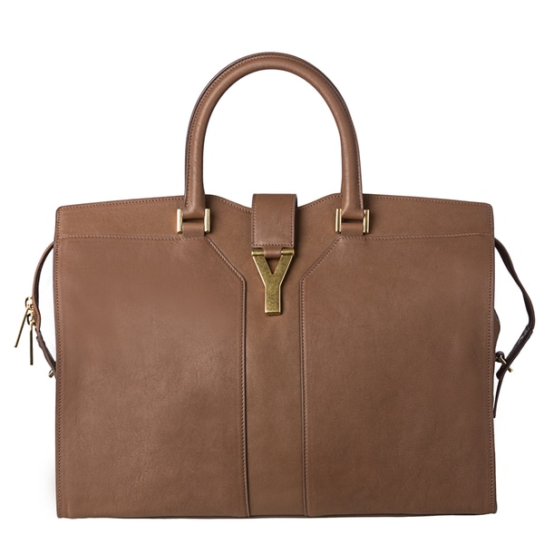Yves Saint Laurent 'Cabas Y' Large Taupe Leather Tote Bag