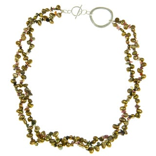 Golden Freshwater Pearl and Tourmaline 20-inch Necklace (5-6 mm)