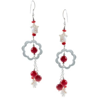 Sterling Silver Star-shaped FW Pearl and Red Coral Earrings (6-7 mm)