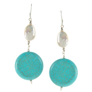 Sterling Silver Turquoise and White Freshwater Pearl Earrings (11-15 mm)
