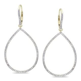 Miadora Signature Collection 14k Yellow Gold 4/5ct TDW Diamond Teardrop Earrings
