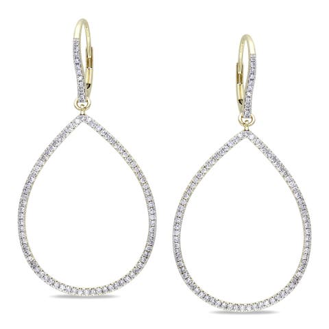 Miadora Signature Collection 14k Yellow Gold 4/5ct TDW Diamond Teardrop Earrings