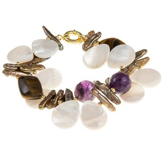 Brown Biwa Pearl, Tiger's Eye and Amethyst Bracelet (5-17.6 mm)