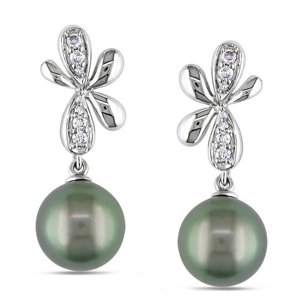 Miadora 14k White Gold Tahitian Pearl and 1/6ct TDW Diamond Earrings (G-H, I1-I2)