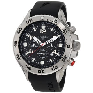 Shop Nautica Men S Stainless Steel Black Dial Chrono Watch