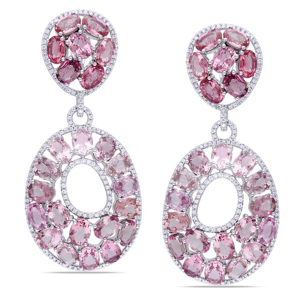 Miadora Signature Collection 14k White Gold Pink Tourmaline 1 1/2ct TDW Diamond Earrings (G-H, SI)