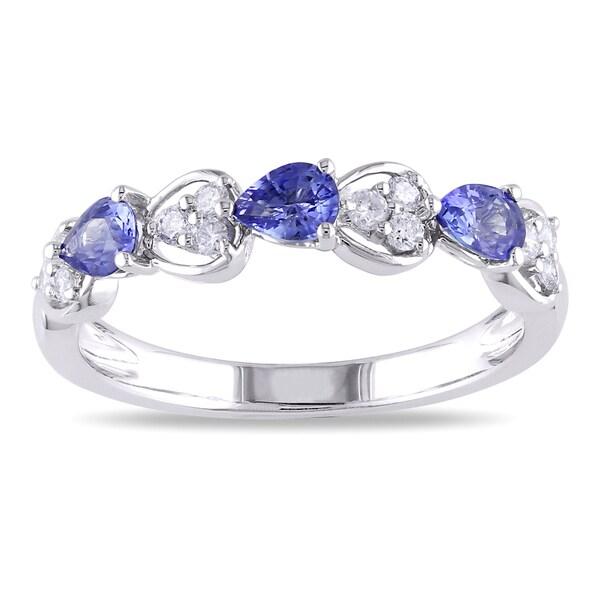 Miadora 18k White Gold Sapphire and 1/5ct TDW Diamond Ring (G-H, SI1-SI2)