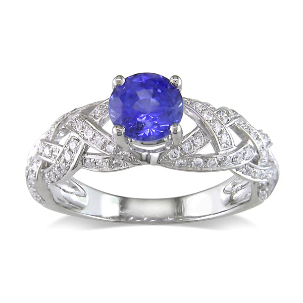 Miadora 14k White Gold Sapphire and 4/5ct TDW Diamond Ring (G-H, SI1-SI2)