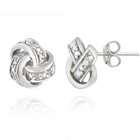 DB Design Sterling Silver 1/10ct TWD Diamond Accent Love Knot Earrings