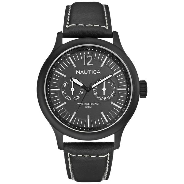 Nautica Men's Date N13603G Black Crocodile Leather Watch