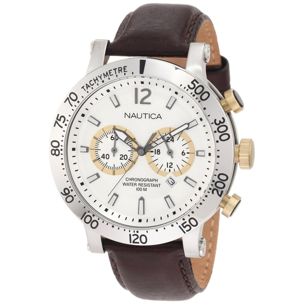 Nautica Men's Brown Leather Silver Dial Watch