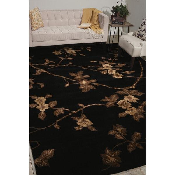 Hand-tufted Modern Elegance Floral Black Rug (8' x 11') - 8' x 11'