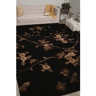 Hand-tufted Modern Elegance Floral Black Rug (9'6 x 13'6)