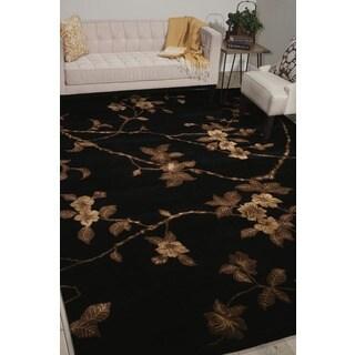 Hand-tufted Modern Elegance Floral Black Rug (5'6 x 7'5)