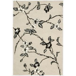 Hand-tufted Modern Elegance Art Deco Floral Black/ White Rug (3'6 x 5'6)