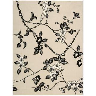 Hand-tufted Modern Elegance Art Deco Floral Black/ White Rug (5'6 x 7'5)