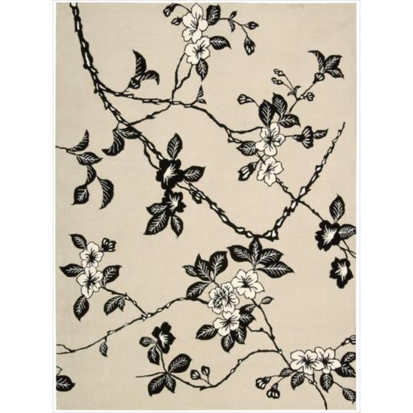 Hand Tufted Modern Elegance Art Deco Floral Black White
