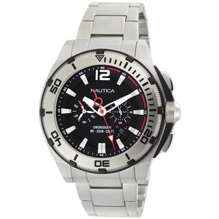 Nautica Men's Black Dial and Stainless Steel Bracelet Quartz Watch