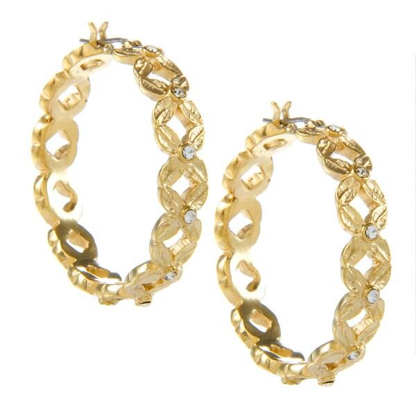 Carolee Flower Cubic Zirconia Hoop Earrings