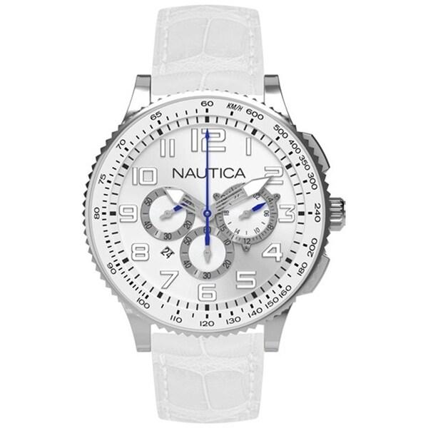 Nautica Women's White Dial and White Leather Strap Quartz Watch