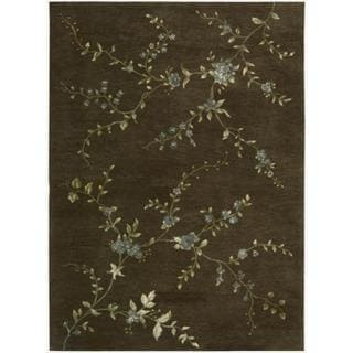 Hand-tufted Modern Elegance Floral Brown Wool Rug (8' x 11')