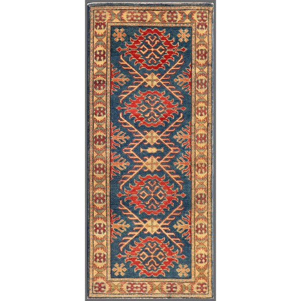 Afghan Hand-knotted Kazak Navy/ Beige Wool Rug (2'3 x 3'4)