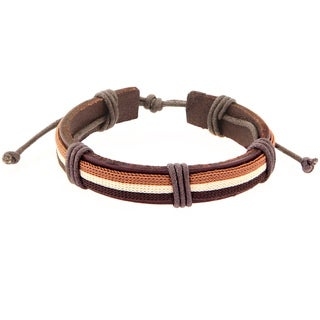 Brown Leather Three-layer Striped Fashion Bracelet