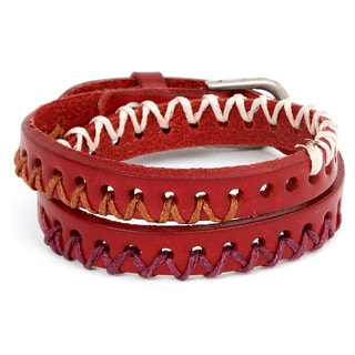 Silvertone and Red Leather Threaded 3-zone Zigzag Double Wrap Bracelet