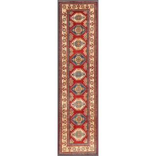 Herat Oriental Afghan Hand-knotted Kazak Red/ Ivory Wool Rug (2'8 x 10'6)