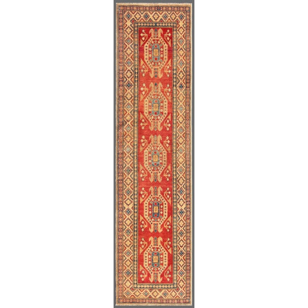 Afghan Hand-knotted Kazak Red/ Ivory Wool Rug (2'8 x 11')