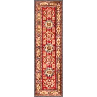 Herat Oriental Afghan Hand-knotted Kazak Red/ Ivory Wool Rug (2'9 x 9'10)