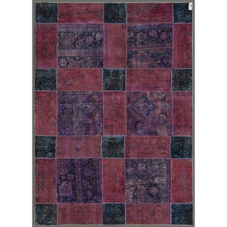 Herat Oriental Pak Persian Hand-knotted Patchwork Wool Rug (6'11 x 9'11)