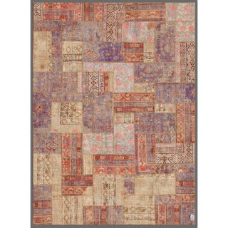 Herat Oriental Pak Persian Hand-knotted Patchwork Multi-colored Wool Rug (7'10 x 10'9)