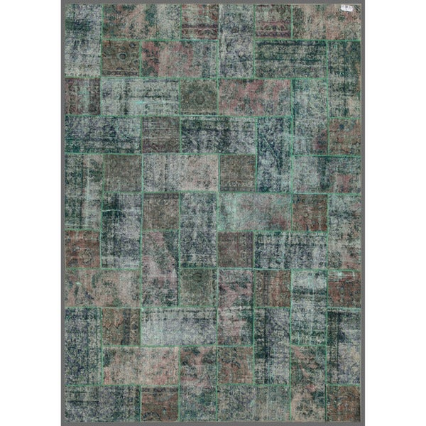 Pak Persian Hand-knotted Patchwork Multi-colored Wool Rug (7'11 x 10'11)