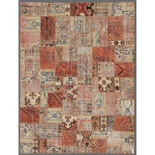 Herat Oriental Pak Persian Hand-knotted Patchwork Multi-colored Wool Rug (7'8 x 9'9)