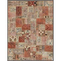 Herat Oriental Pak Persian Hand-knotted Patchwork Wool Rug - 7'8 x 9'9