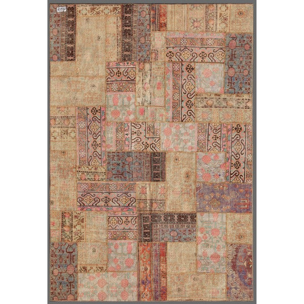 Pak Persian Hand-knotted Patchwork Multi-colored Wool Rug (6'10 x 9'10)