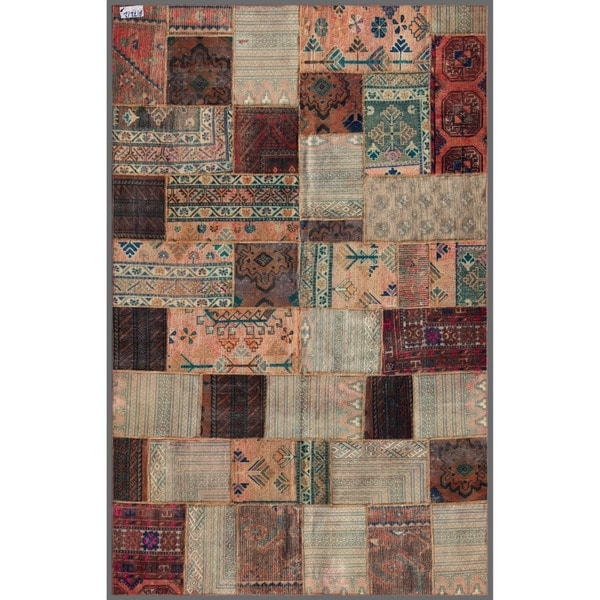 Herat Oriental Pak Persian Hand-knotted Patchwork Multi-Colored Wool Area Rug (5'8 x 8'10)