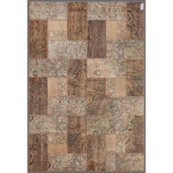Herat Oriental Pak Persian Hand-knotted Patchwork Wool Rug (5'11 x 8'11) - 5'11 x 8'11