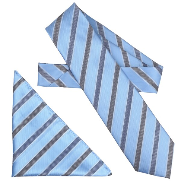 Boston Traveler Men's Diagonal Stripe Microfiber Tie and Hanky Set
