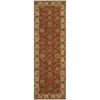 Living Treasures Rust Wool Runner Rug - 2'6 x 8