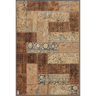 Herat Oriental Pak Persian Hand-knotted Patchwork Multi-colored Wool Rug (5'10 x 8'11)