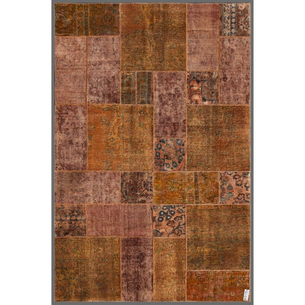 """Worldstock Pakistan Persian Hand-Knotted Patchwork Multicolored Geometric-Patterned Wool Area Rug (5'11"""" x 8'11"""")"""