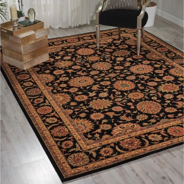 Living Treasures Black Wool Rug (3'6 x 5'6)