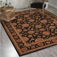 Living Treasures Black Wool Rug - 3'6 x 5'6
