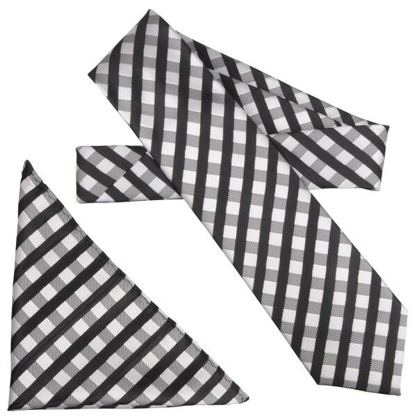 Boston Traveler Men's Checker Pattern Microfiber Tie and Hanky Set